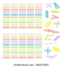 Collection of colorful adhesive tape or stickers. Set of washi tape strips. Vector illustration