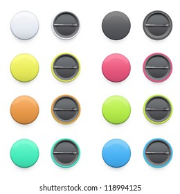 Collection of colorful badges on isolated background. Vector design.