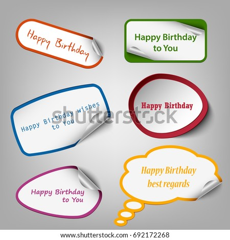 collection colorful birthday stickers template stock vector royalty