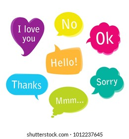 Collection of colorful bright speech bubbles. Vector graphic design illustration