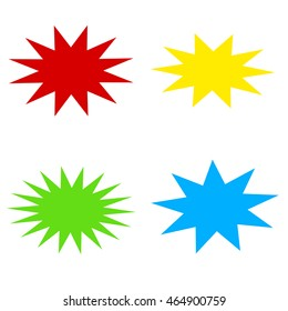 Collection of colorful bursting star icon