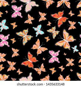 Collection of colorful butterflies, flying in different directions. Vector illustration. Abstract seamless pattern for girls, boys, clothes, wallpaper.