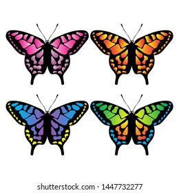 Collection of colorful butterflies vector.