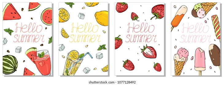 Collection of colorful cards on the summer theme. Vector illustration in sketch style. Refreshing drinks, fruit and ice cream.