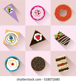 Collection of colorful desserts