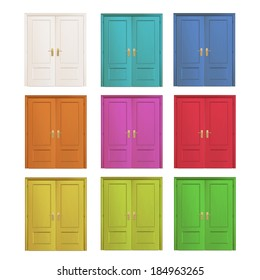 Collection of colorful doors isolated over white. Vector design.