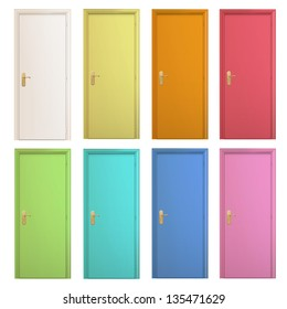 Collection of colorful doors on isolated background. Vector design.