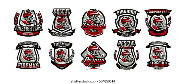 Collection of colorful emblems, logo, badge, firefighter in a gas mask, rescue squad, vector illustration.