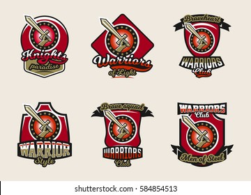 Collection of colorful emblems, logos, stickers, hand holding a sword, warriors club. Vector illustration, printing on T-shirts