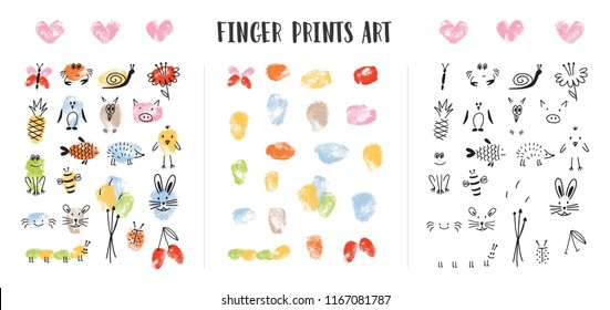 Collection of colorful fingerprints decorated by adorable animal's faces isolated on white background. Bundle of art design elements for children. Childish colorful hand drawn vector illustration.
