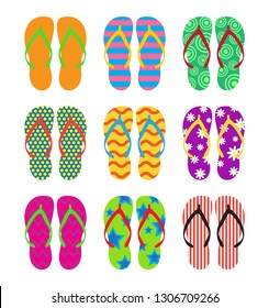 9497d25a0bc9ee Collection of colorful flip flops set on white background - Vector  illustration