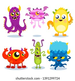Collection of colorful funny monsters - vector