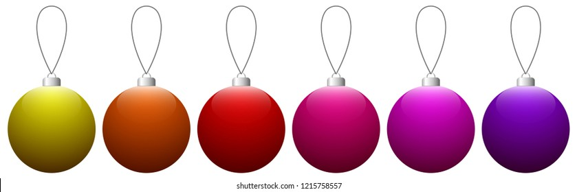 Collection of colorful glass Christmas balls hanging on the string. Vector EPS 10