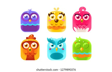 Collection of colorful glossy birds, lovely bright birdies vector Illustration