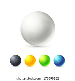 Collection of colorful glossy spheres isolated on white, vector illustration for your design