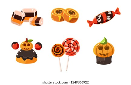 Collection of colorful halloween sweets, candies, cupcakes, lollipops vector Illustration on a white background