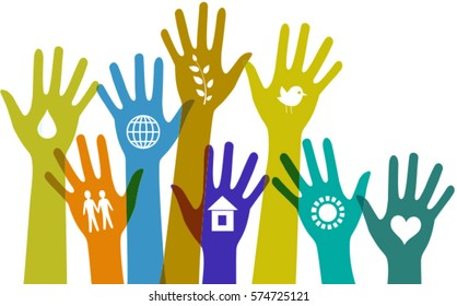 Collection of  colorful hands with icons. Vector