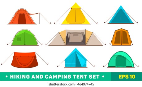 Collection of colorful hiking and camping tent icons.