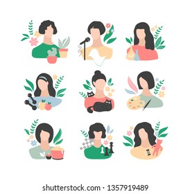 Collection of colorful icons with young women and their hobbies. Vector set of girl power illustrations.
