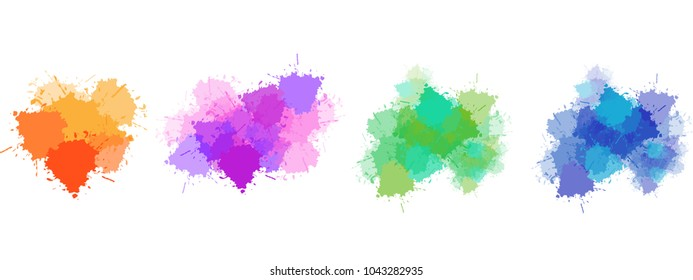 Collection of colorful ink stains background