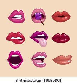Collection of colorful lips with flat design - vector