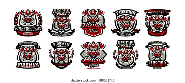A collection of colorful logos, emblems, labels, fireman and dangerous job. Lethal task, a dangerous profession, skull, skeleton, axes on the cross, rescue squad, uniforms. Vector illustration