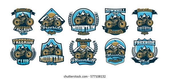 A collection of colorful logos, labels, logos, mountain bike mountains in the background using a variety of lettering, isolated vector illustration. Club downhill, freeride. Print on T-shirts.