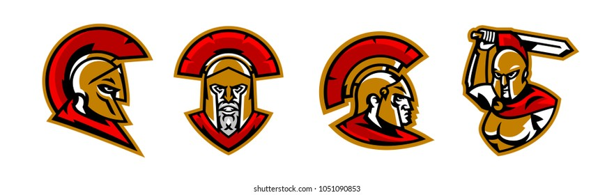 A collection of colorful logos, a Spartan's head, a Corinthian helmet, a warrior waves his sword, the face of a Greek soldier, hoplites. Identity for a sports club, vector illustration