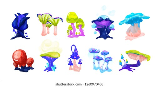 Collection of colorful magical fairytale mushrooms growing in enchanted forest. Set of exotic natural fantasy design elements isolated on white background. Vector illustration in cartoon style.