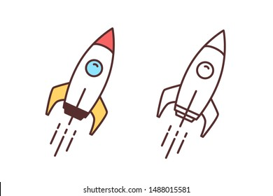 Collection of colorful and monochrome drawings of flying spaceship, spacecraft or shuttle. Spaceflight, space travel or mission. Interstellar rocket launch. Vector illustration in line art style.