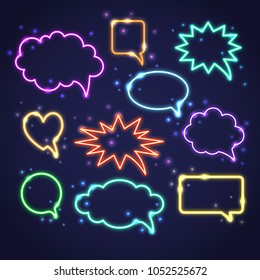 Collection of colorful neon speech bubbles with space for text. Set of transparent electric light frames isolated on dark background.