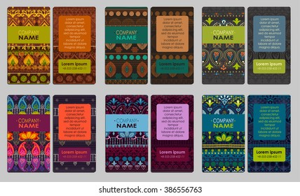 Collection of colorful ornamental business card. It can be used for business cards, invitations, flyers, banners, greeting cards.