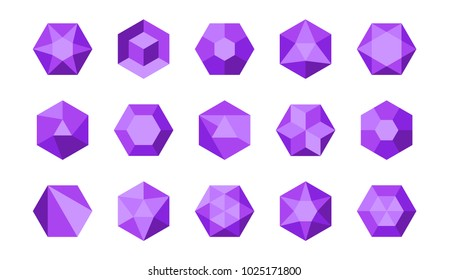 Collection of colorful purple and violet isometric hexagonal gems and jewels (rubies, diamonds, brilliants, sapphires, stones) in geometry style for the game, icon or company logo