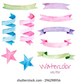 Collection of colorful ribbons for your design. Vector watercolor set.