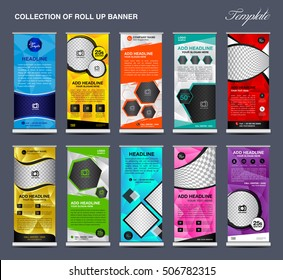 Collection of colorful Roll Up Banner Design stand template, polygon background, advertisement, display, pull up banner, x-stand, flag-banner