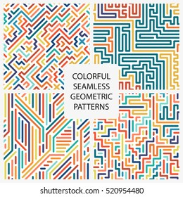 Collection of colorful seamless geometric patterns. Fashion 80-90s.