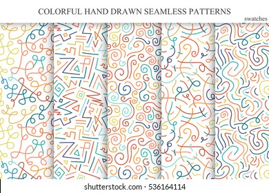 Collection of colorful seamless hand drawn vector patterns. You can use these patterns like seamless if you open swatches panel.