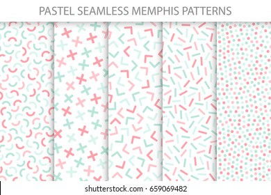 Collection of colorful seamless memphis patterns. Mosaic geometric shapes - fashion 80 - 90s. Soft colors - delicate design. You can find seamless backgrounds in swatches panel.