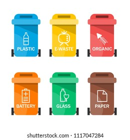 Collection of colorful separation recycle bin icon. Vector illustration