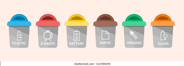 Collection of colorful separation recycle bin icon. Organic, batteries, metal, plastic, paper, glass, waste, light bulb, aluminium, food, can, bottle. Bin vector, recycle bin. Vector illustration
