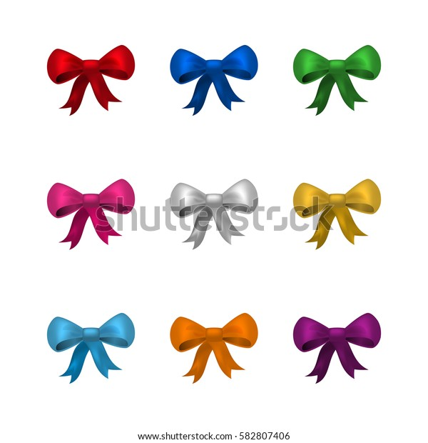 Collection of colorful silky bows isolated on white background.