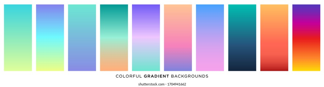 Collection of colorful smooth gradient background for graphic design. Vector illustration