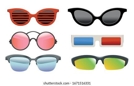 Collection of Colorful Sunglasses of Different Shapes, Modern and Retro Eyeglasses, 3d Glasses Vector Illustration