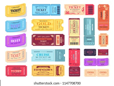 Collection of colorful tickets isolated on white background. Vector illustration with set of different cinema, theatre, and party pass mark