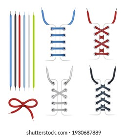 Collection colorful tied and untied shoe laces vector flat illustration. Set various fashion string rope shoelace accessories decorative detail elements for footwear boots sneakers isolated on white