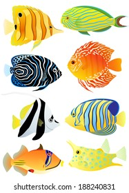 Collection of colorful tropical fish. Vector illustration.