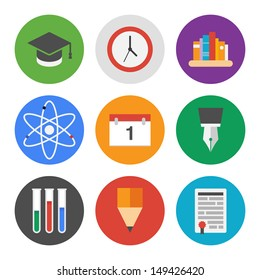 Collection of colorful vector icons in modern flat design style on knowledge and education theme.  Isolated on white background.