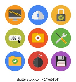 Collection of colorful vector icons in modern flat design style on internet security theme. Isolated on white background.