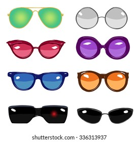 collection of colorful vector retro fashion glasses, set of cartoon comic glasses of different famous persons