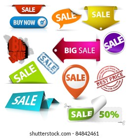 Collection of colorful vector sale tickets, labels, stamps, stickers, corners, tags on white background